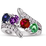Build Your Ring - Personalized Sterling Silver Four Stone Synthetic Birthstone Ring - Choose Your CZ Stones