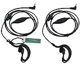 2 X SUNDELY® Clip Ear/Ear Hook Headset Earpiece with VOX-PTT Switch for Motorola Radio/Walkie Talkie EM1000 MH230R MJ270R TKLR T3 T4 T5 T6 T7 1-pin