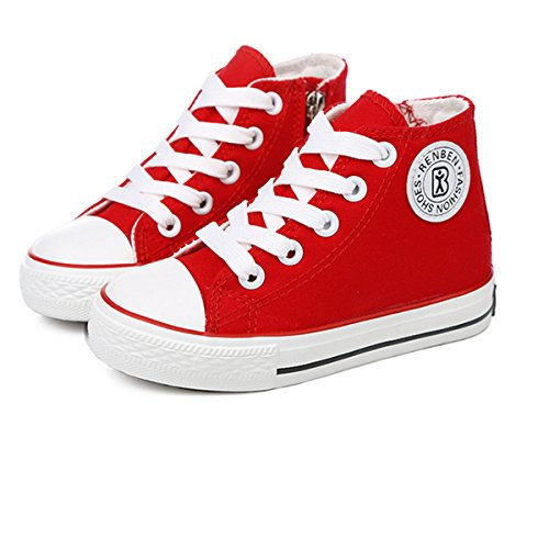 E-FAK Kids Boys Girls Canvas High Top Gym Shoes Trainers Sneakers (Toddler/Little Kid/Big Kid)(9.5 M US Toddler,RED)