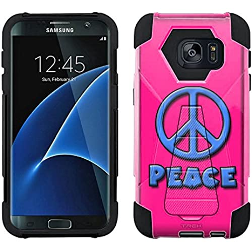 Samsung Galaxy S7 Edge Hybrid Case Blue Peace on Pink 2 Piece Style Silicone Case Cover with Stand for Samsung Galaxy S7 Edge Sales
