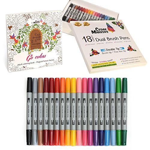 cedar-markers-dual-brush-pens-18-artist-markers-set-with-free-coloring-book-88-drawings-fine-liner-a
