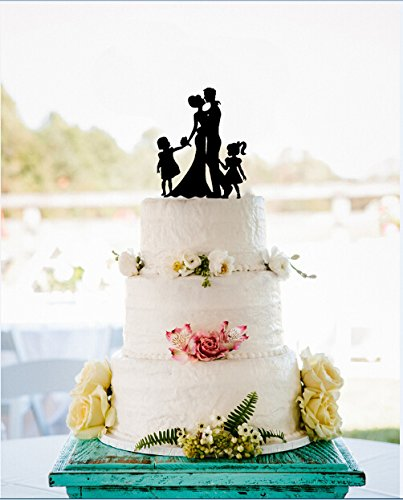 Amazon wedding cake toppers kiss bride and groom silhouette wedding cake toppers kiss bride and groom silhouette with 2 girls wedding cake decorations junglespirit Choice Image