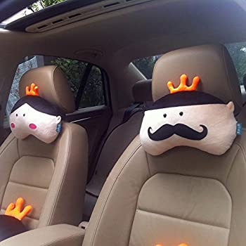 AB Crew 2 PCS Creative Car Headrest Head Cushion Plush Neck PillowKing Queen