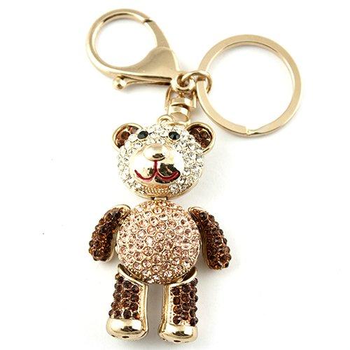 Gold Tone Rhinestone Teddy Bear Hook Clip Keychain Charm - Rhinestone Teddy