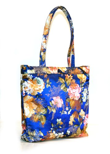 Luckers Blue Floral Print Silk Handbags, Bags Central