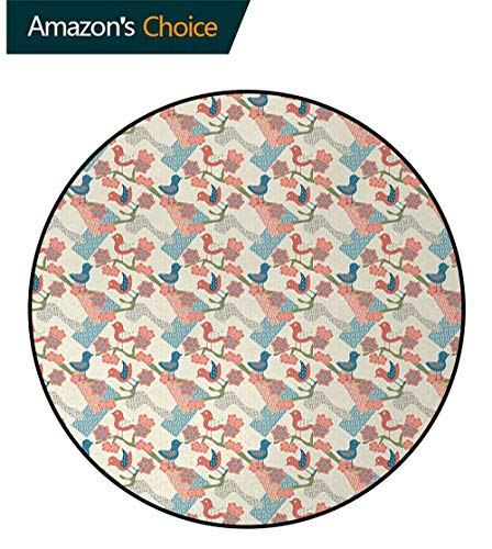 - DESPKON-HOME Asian Super Soft Circle Rugs for Girls,Artistic Japanese Nature Traditional Kimono Pattern Birds On Branches Baby Room Decor Round Carpets Diameter-35 Inch,Salmon Pale Green Blue