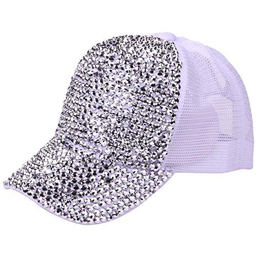 (Ztl Studded Rhinestone Bling Baseball Cap High Messy Bun Ponytail Adjustable Hat)