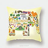 Custom Satin Pillowcase Protector Thai Elephant. Set Vector Icons And Symbols Of Thailand_66997914 Pillow Case Covers Decorative