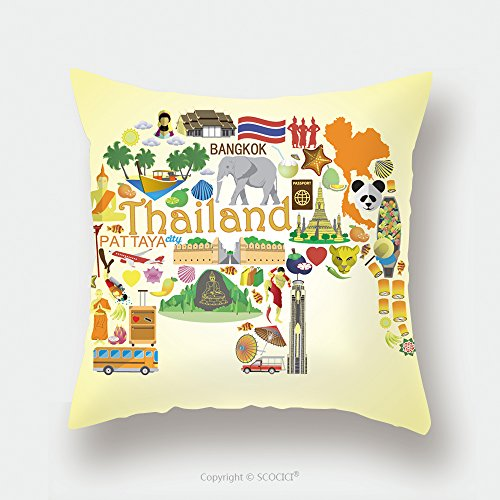 Custom Satin Pillowcase Protector Thai Elephant. Set Vector Icons And Symbols Of Thailand_66997914 Pillow Case Covers Decorative by chaoran