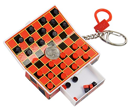 Pocket Game Checkers on Key Chain, Magnetic Pieces, Travel - Keychain Board Game