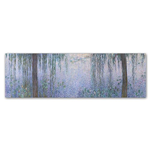 The Water Lillies Clear Morning With Willows by Monet, 6x19-Inch Canvas Wall Art