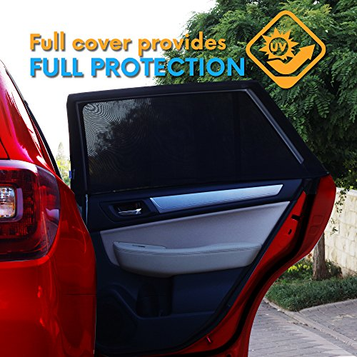 UNIVERSAL FIT CAR SIDE WINDOW SUN SHADES -Protect Your Babies and Kids from UV | Easy Fit | Fits All (99%) Models | 2 Pack + TRAVEL E-BOOK INCLUDED!!