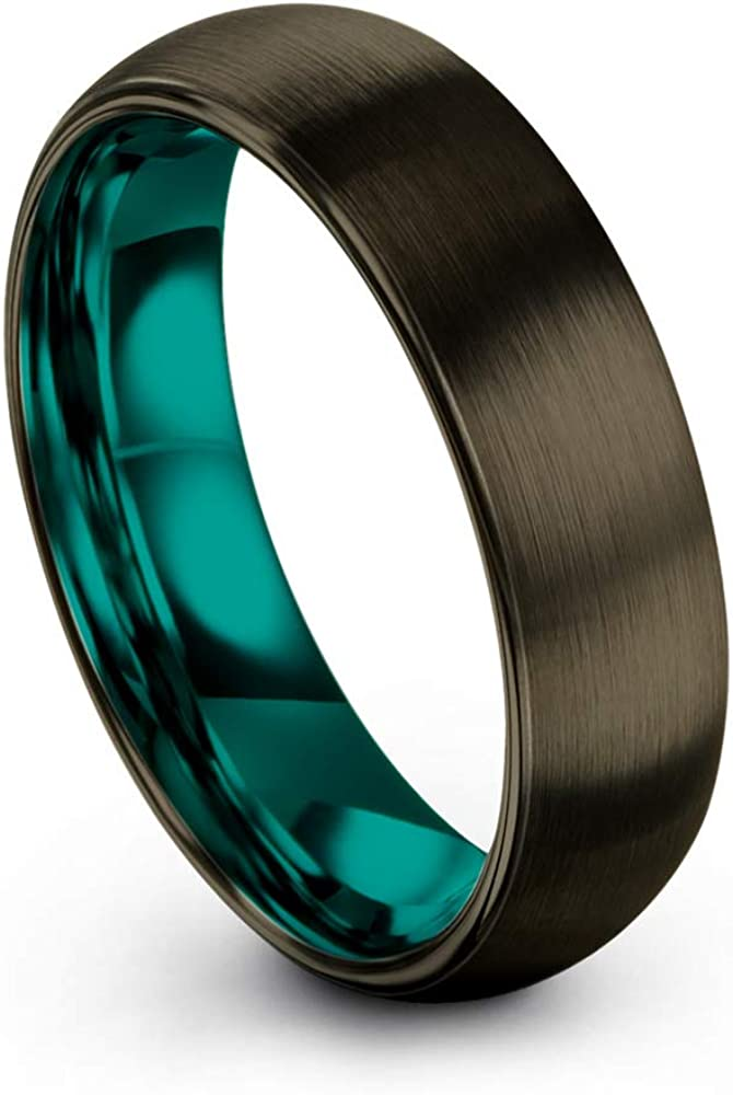 Chroma Color Collection Tungsten Carbide Wedding Band Ring 6mm for Men Women Green Red Blue Purple Black Gunmetal Copper Fuchsia Teal Interior with Dome Brushed Polished
