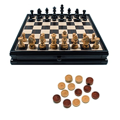 WE Games French Staunton Chess & Checkers Set - Weighted Pieces, Black Stained Wooden Board with Storage Drawers - 15 in.