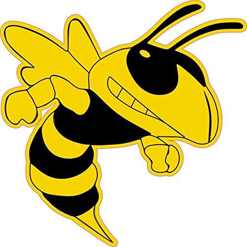 StickerTalk 6in x 6in Right Facing Yellow Black Hornet Bee Masco Bumper Sticker Vinyl Window Decal