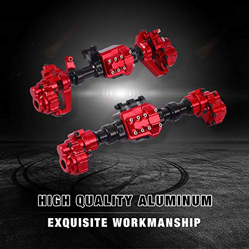 - RZXYL Traxxas Front and Rear Axle TRX4 Crawler Accessories 1/10 RC Car Aluminum Alloy Housing Set Red