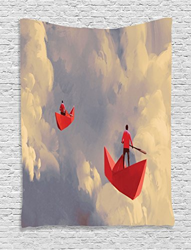 Ambesonne Fantasy Art House Decor Tapestry by, Men on Origami Boats Floating in Cloudy Sky Imaginary Journey Image, Wall Hanging for Bedroom Living Room Dorm, 60WX80L Inches, Coral Blue