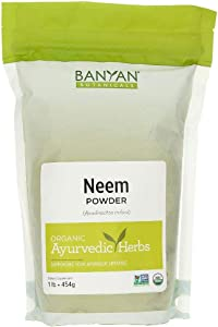 Banyan Botanicals Neem Powder – Organic Neem Leaf Powder – Azadirachta Indica – for Clear Complexion & Healthy Skin, Hair, Blood, Lymph, Liver & More* – 1lb. – Non-GMO Sustainably Sourced Vegan