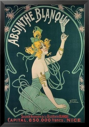 (Buyartforless Framed Absinthe Blanqui by Nover 32.25x21.75 Museum Art Noveau Art Print Poster Pretty Girl Drinking)