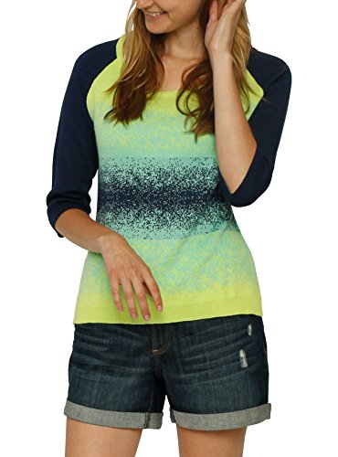 3/4 Sleeve Raglan Wide Neck Ombre Jacquard Sweater (Cyrus 3/4 Sleeve Sweater)