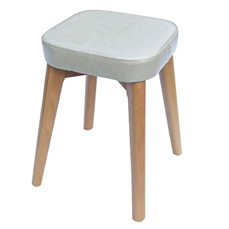 Pleasing Amazon Com Zcxbhd Wooden Footstool Ottoman Leather Square Pdpeps Interior Chair Design Pdpepsorg