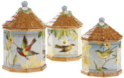 Certified International 3-Piece Botanical Birds Canister Set - Botanical Canister