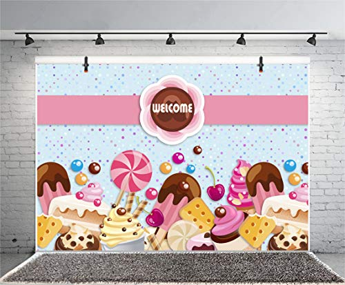 Leyiyi 5x3ft Cartoon Baby Shower Photography Background Dessert Table Icecream Lollipop Chocolate Cookies Cherry Sweet Food Backdrop Kids Birthday Welcome Confetti1st Photo Portrait Vinyl Studio Prop