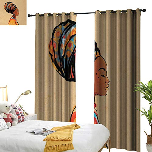 African,Decor Curtains by,Ethnic Woman with Exotic Feather Earring and Scarf Zulu Hippie Artwork,W84 xL96,Suitable for Bedroom Living Room Study, etc.