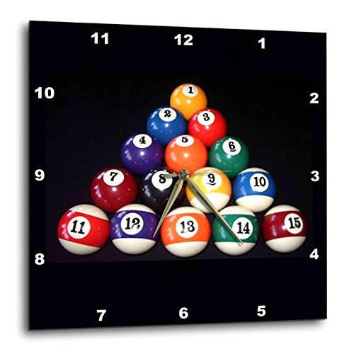 3dRose DPP_3317_2 Billiards Balls Pool Wall Clock, 13 by 13-Inch ()