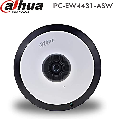 Dahua 4MP Wireless WiFi FishEye PoE IP Camera IPC-EW4431-ASW Dome Camera 1.6mm Lens Network Security Camera with Audio Alarm I O, Built in Mic for Audio, Support SD Card, IR Night Vision, H.265