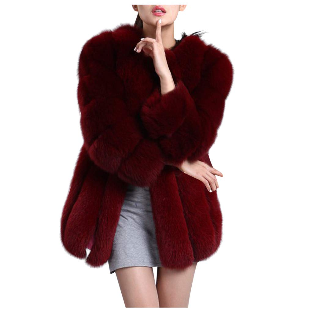 Benficial Womens Ladies Sleeveless Warm Faux Fur Waistcoat Solid Winter Loose Vest Coat Wine by Benficial-Womens Coats