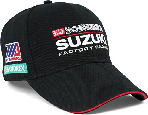Pilot Motosport Yoshimura Suzuki Factory Racing Team Hat (Black, OneSize) - Racing Team Hat