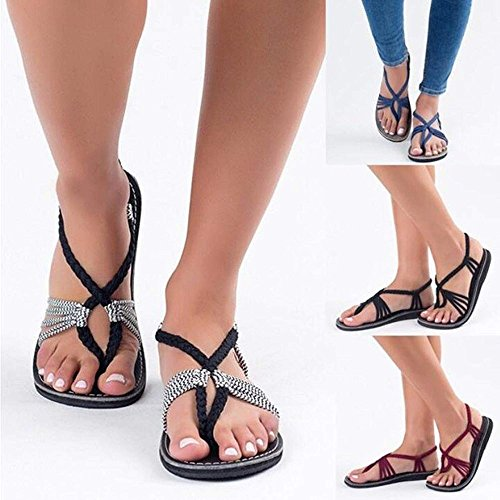 Women Nylon Rope Retro Roman Strappy Sandals Beach Shoes for Ladies White TIKoNpIiUD