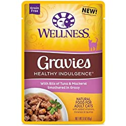 Wellness Healthy Indulgence Gravies Tuna and Mackerel in Gravy Cat Food, 3 Ounce -- 24 per case.