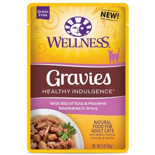 Wellness Healthy Indulgence Gravies Tuna and Mackerel in Gravy Cat Food, 3 Ounce - 24 per case.