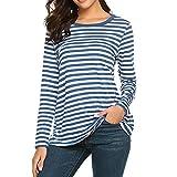 chuxin huang Women Long Sleeve Round Neck T-Shirt Striped Shirts Tunic Top Blouse Blue