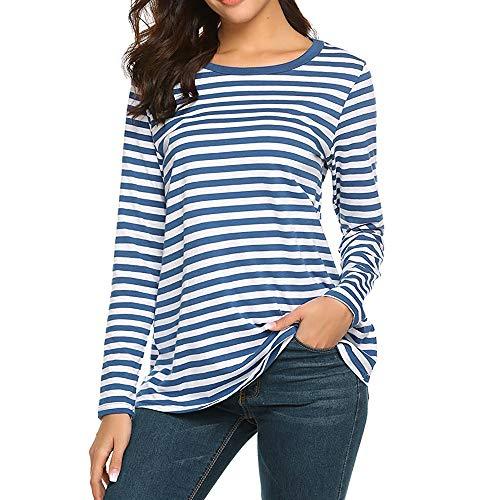 chuxin huang Women Long Sleeve Round Neck T-Shirt Striped Shirts Tunic Top Blouse Blue for $<!--$2.22-->