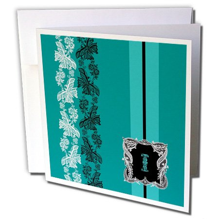 Russ Billington Monograms- Old Lace Initial I - Monogram Initial I in Teal White and Black Lace - 1 Greeting Card with envelope (gc_239060_5) -
