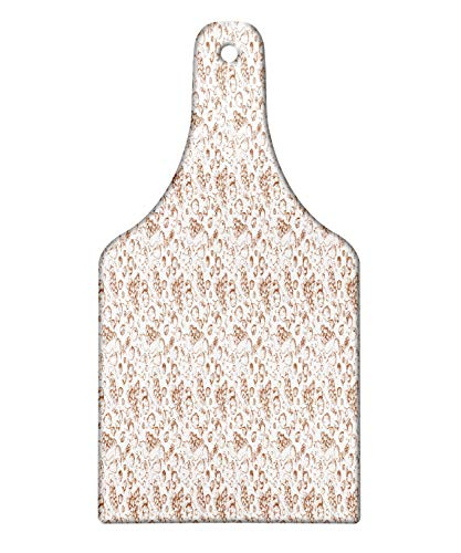 Lunarable Fruit Art Cutting Board, Vintage Engraved Style Sketch of Apple Pear Grape Quince Apricot Cherry Berries, Decorative Tempered Glass Cutting and Serving Board, Wine Bottle Shape, Umber White