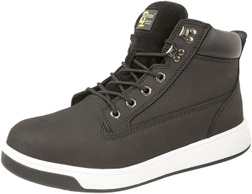 Grafters Mens Black Leather Steel Toe