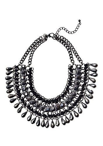 Happiness Boutique Femmes Collier Plastron avec Pierres Noires | Collier Multi-Rangs Design Inspiration Vintage sans nickel