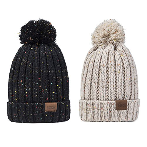 REDESS Women Winter Pom Pom Beanie Hat with Warm Fleece Lined, Thick Slouchy Snow Knit Skull Ski Cap ()