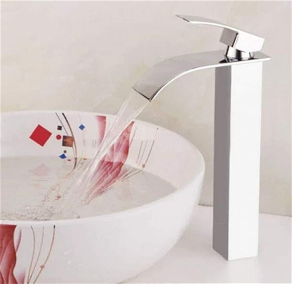 JingJingnet 洗面台の蛇口真鍮ニッケル滝浴室のシンク蛇口シングルハンドル大きな正方形洗面台デッキホットコールドミキサータップクレーン (Color : A) B07RY2RQJR A