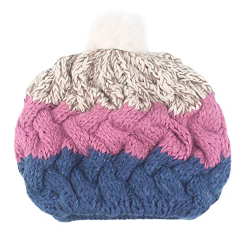 Womens Multi Color Patchwork Baggy Warm Wool Knit Beanie Slouchy Caps Hat Outdoor for Youth Girls