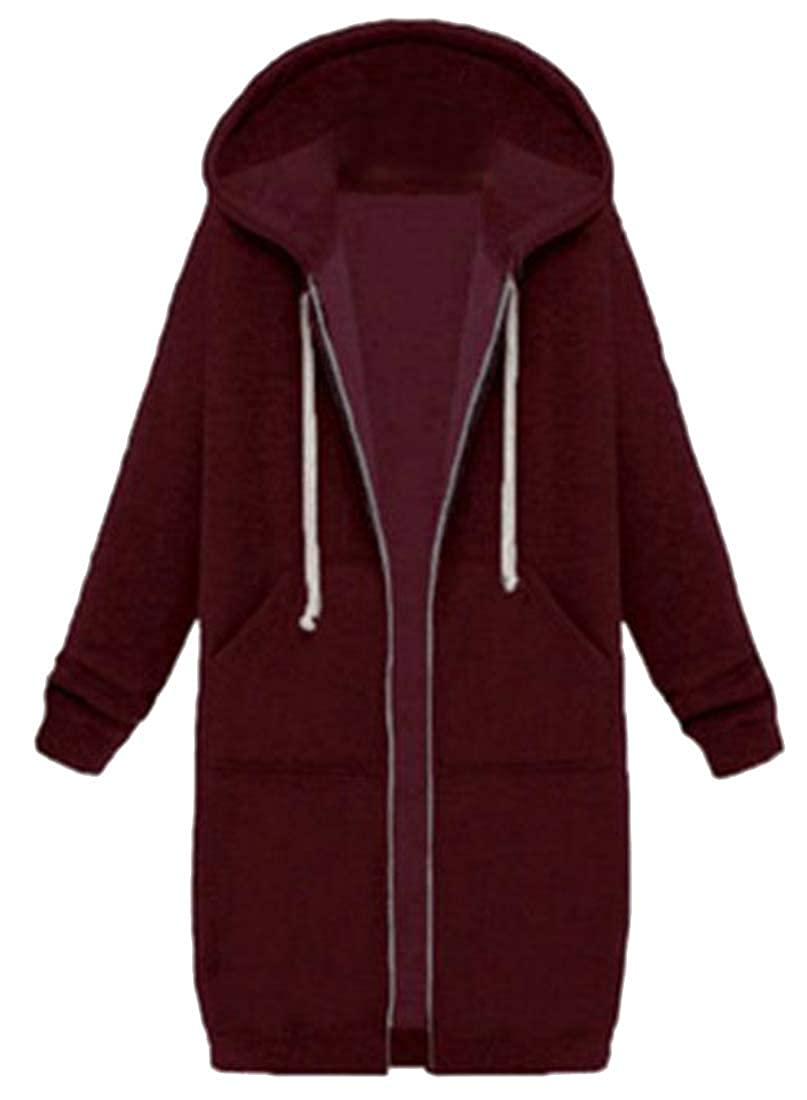 Joe Wenko Womens Drawstring Casual Zipper Coat Midi Hooded Sweatshirts with Pocket