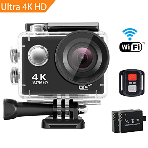 SENDOW 4K WiFi Sports Action Camera 170° Wide-Angle 30M Waterproof Sport DV Camera with Remote Control, Various Shooting Mode, Loop Recording, Full Accessories Kit