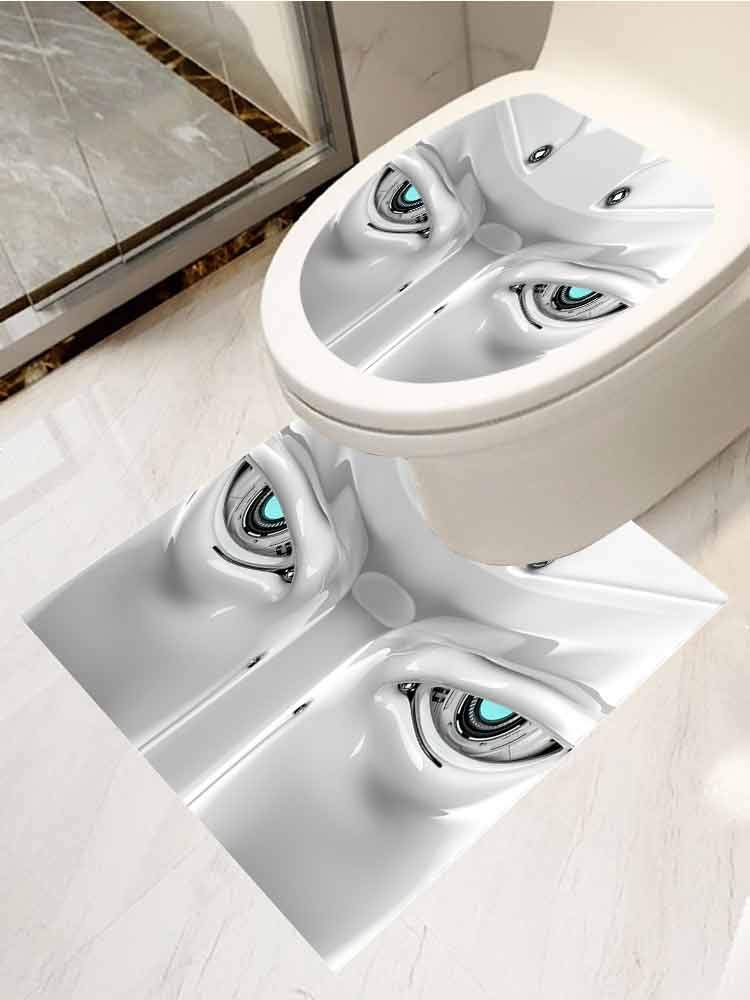 AuraiseHome Cover Decals Stickers Toilet Paste Set 2 Smart Robot Face Decal Sticker