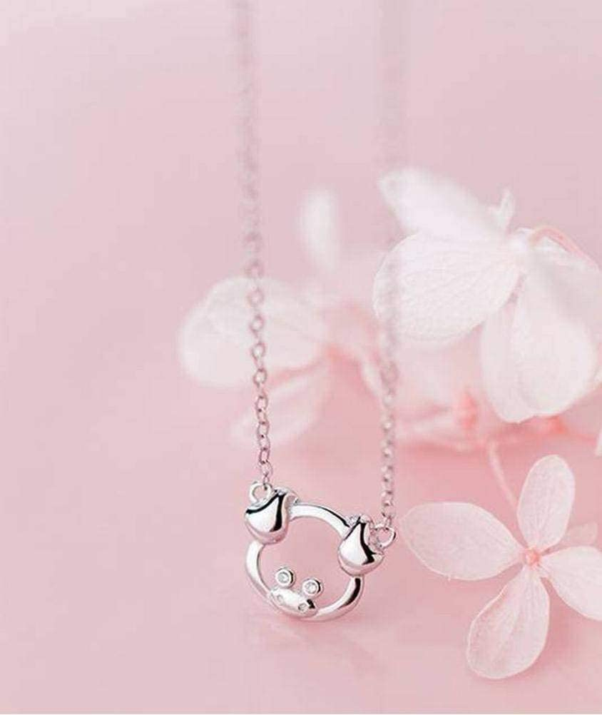 Katylen S925 Silver Zodiac Pig Necklace Female Cute Pig Short Clavicle Chain Sweet Animal Necklace Female, S925 Silver Set Chain 51KOMn-KFuL
