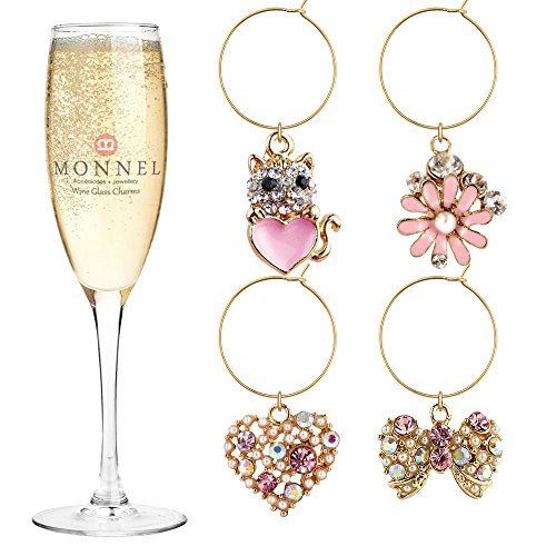 (P411 Cute Pink Crystal Bow Love Heart Cat Flower Wine Charms Glass Marker for Party with Velvet Bag- Set of 4)