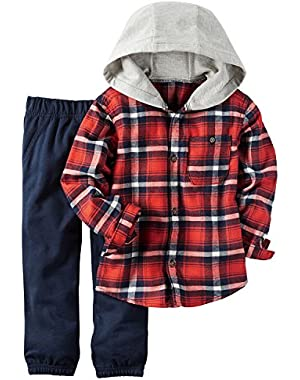 Carter's Baby Boys 2 Piece Playwear Sets, Red Plaid/Navy Joggers, 18M